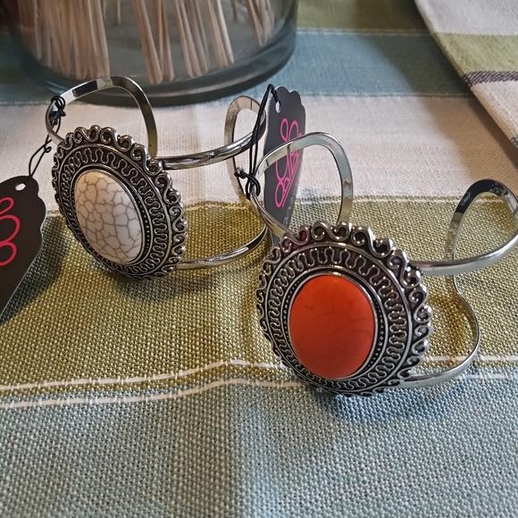 Lot of 2   Bracelet/White and Orange Stone